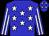 Blue, white stars, blue and white stripes on sleeves, blue cap, white stars (Linette Stables)