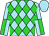 Sky blue, lime green diamonds, sky blue and lime green quartered sleeves, sky blue cap (Equivine Farm)