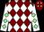 Maroon and white diamonds, white sleeves, light green diamonds (Rasio Cymru I & Dutch Rose Partnerhsip)