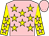 Pink, yellow stars, pink stars on yellow sleeves, pink cap (Phyllis Godwin)