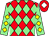 Red & light green diamonds, light green sleeves, yellow diamonds, red cap, white diamond (James O'Rourke & Mrs Mary O'Rourke)