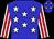 Blue, white stars, red stripes on white sleeves (James Loures)