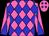 Hot pink, blue diamonds and diagonal quarters on sleeves (Bob Austin)