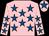 Pink, royal blue stars, royal blue star on cap (Ms M McKenna)