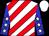 White, red diagonal stripes, white stars on blue sleeves, white cap (Usa Thorougbreds)