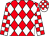 Red, white diamonds, white & red checked sleeves and hooped cap (Getmore Group Syndicate)