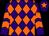 Purple and orange diamonds, chevrons on sleeves, purple cap, orange star (Jan Mead Kelly Gould Sally Paton)