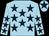Light blue, dark blue stars, light blue cap, dark blue star (S Burns, M Smyth & D Studholme)