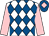 White and royal blue diamonds, pink sleeves, royal blue cap, pink diamond, white pom pom (Marc Walker & Gay Kelleway)