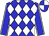 Blue and white checked diamonds, blue sleeves, white seams, quartered cap (Messrs B & M du Toit)