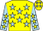 Yellow, light blue stars, light blue sleeves, yellow stars, yellow cap, light blue stars (Lau Ying Kin)