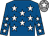 Royal blue, white stars, grey cap, white star (Mrs C M Brady)