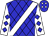 Blue, blue diamonds, white sash, blue diamonds on white sleeves (Michael Hamilton)