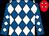 Royal blue & white diamonds, red cap, white diamonds (Sean Patrick Dunne)