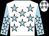 White, light blue stars, light blue sleeves, white stars and stars on cap (Jacqueline And John Conroy)