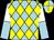Light blue & yellow diamonds, white & light blue halved sleeves, yellow & light blue quartered cap (Tang Xiao Dan)