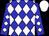 Blue, white diamonds, blue and white diamonds on sleeves, white cap (Steffin, Leland)