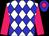 White body, blue diamonds, rose arms, blue cap, rose diamond (Mlle G Kelleway)