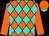 Orange and turquoise diamonds, orange sleeves, orange cap, turquoise visor (Gabrielle Farm, Seitz, Karl E , Hart, Sr , William D And Dunn, Christopher T)
