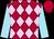 Scarlet and pale pink checked diamonds, sky blue sleeves, scarlet cap (Mr M Menasce & Miss D N Stenger)