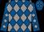 Royal blue, grey diamonds, grey diamonds on sleeves (Plum, Cliff And Rogers, Gary D)