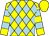Yellow & light blue diamonds, yellow and light blue hooped sleeves, yellow cap (Happy Win Syndicate)