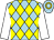 Light blue, yellow diamonds, white sleeves, gold hoop on light blue cap (Chan Ming Wing)
