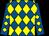 Royal blue and yellow diamonds, black cap (Celtic Contractors Limited)
