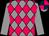 Grey, cerise diamonds, grey sleeves, dark blue & cerise quartered cap, grey peak (Stall Bonne Nuit)