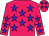 Rose body, blue stars, rose arms, blue stars, rose cap, blue stars (G Ferron/t Maudet)