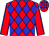 Red and blue diamonds, red sleeves, blue seams, checked cap (Mr A G Theron)