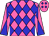 Hot pink, blue diamonds and diagonal quarters on sleeves (Bob Austin)