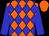 Orange, blue diamonds, blue sleeves, orange cap (Domino Enterprises Inc)
