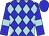 Blue, light blue diamonds, light blue bars on sleeves, blue cap (Twenty-Two Stable)