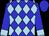 Blue, light blue diamonds, light blue diamonds & cuffs on sleeves, blue cap (Shirley Lojeski)