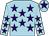 Light blue, purple stars, purple star on cap (Ms Caroline Ahearn)