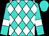 Turquoise, white diamonds, white armlets on sleeves, turquoise cap (Dorothy Raffa)