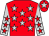 Red, silver stars, silver sleeves, red stars, red cap, silver star (Messrs Sterling M Miller & P J Maujean)