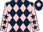 Dark blue and pink diamonds, pink sleeves, dark blue stars, dark blue cap, pink diamond (Simon Treacher & Partner)