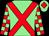 Light green, red cross belts, checked sleeves, light green cap, red diamond (Mr David Slater)