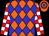 Orange, blue diamonds, white & red checked sleeves, orange & blue hooped cap (Joy Plus Luck Syndicate)