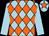 Light blue and orange diamonds, light blue sleeves, light blue cap, orange star (J C & S R Hitchins)
