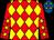Red & yellow diamonds, yellow stars on red sleeves, royal blue cap, yellow stars (Alex Cheung King Shek)