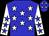 Blue, white stars, blue stars on white sleeves (J Baird)