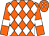 Orange, white diamonds, white bars on sleeves (Mitre Box Stable)