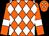 Orange, white diamonds, white bars on sleeves (Mitre Box Stable)
