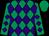 Emerald green and purple diamonds, emerald green cap (Horsplay Syndicate)