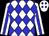 White, blue diamonds, white sleeves and blue stripe (Belinda Duron)