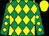 Emerald green and yellow diamonds, yellow cap (Ed McCormack Racing)