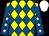 Yellow & royal blue diamonds, royal blue sleeves, white stars, white cap (Five Guys & A Striker Syndicate)